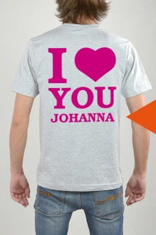 T-Shirt Grau, I Love You - 3273