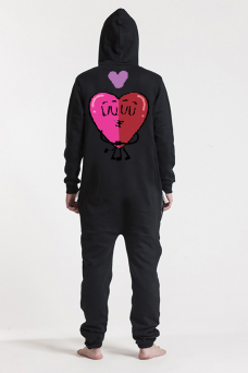Comfy Black, Love Heart, Jumpsuit - 5971