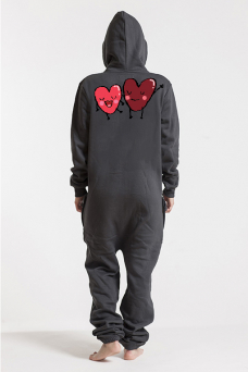 Comfy Dark Grey & Silver, Heart Love2, Jumpsuit - 6027